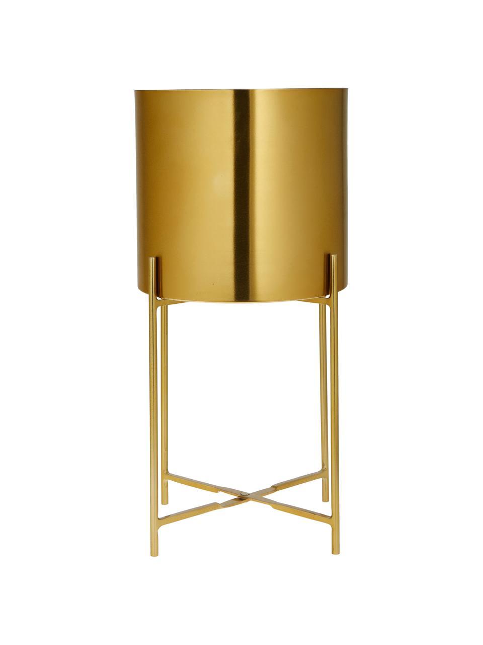 Set 2 portavasi alti in metallo Mina, Metallo verniciato a polvere, Oro, Set in varie misure