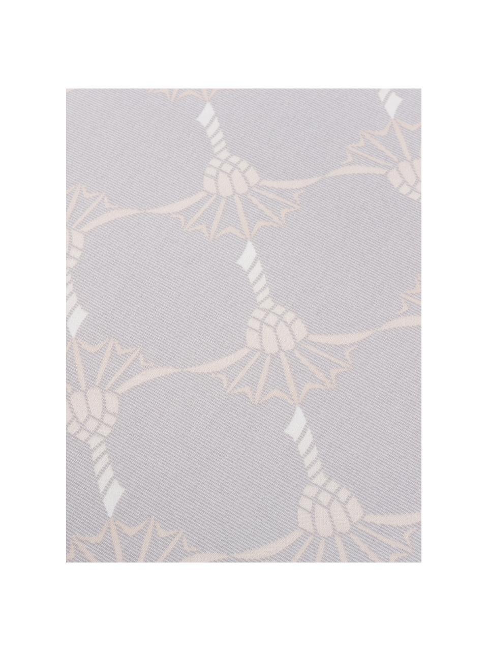 Mako-Satin-Bettwäsche Cornflower Gradiant mit Kornblumen, Webart: Mako-Satin, Hellgrau, Mittelgrau, Beige, Creme, 135 x 200 cm + 1 Kissen 80 x 80 cm