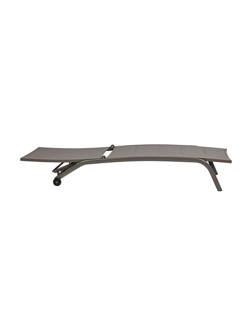 Lettino prendisole Cleo, Struttura: alluminio verniciato a po, Rivestimento: textilene, Taupe, nero, Larg. 192 x Prof. 61 cm