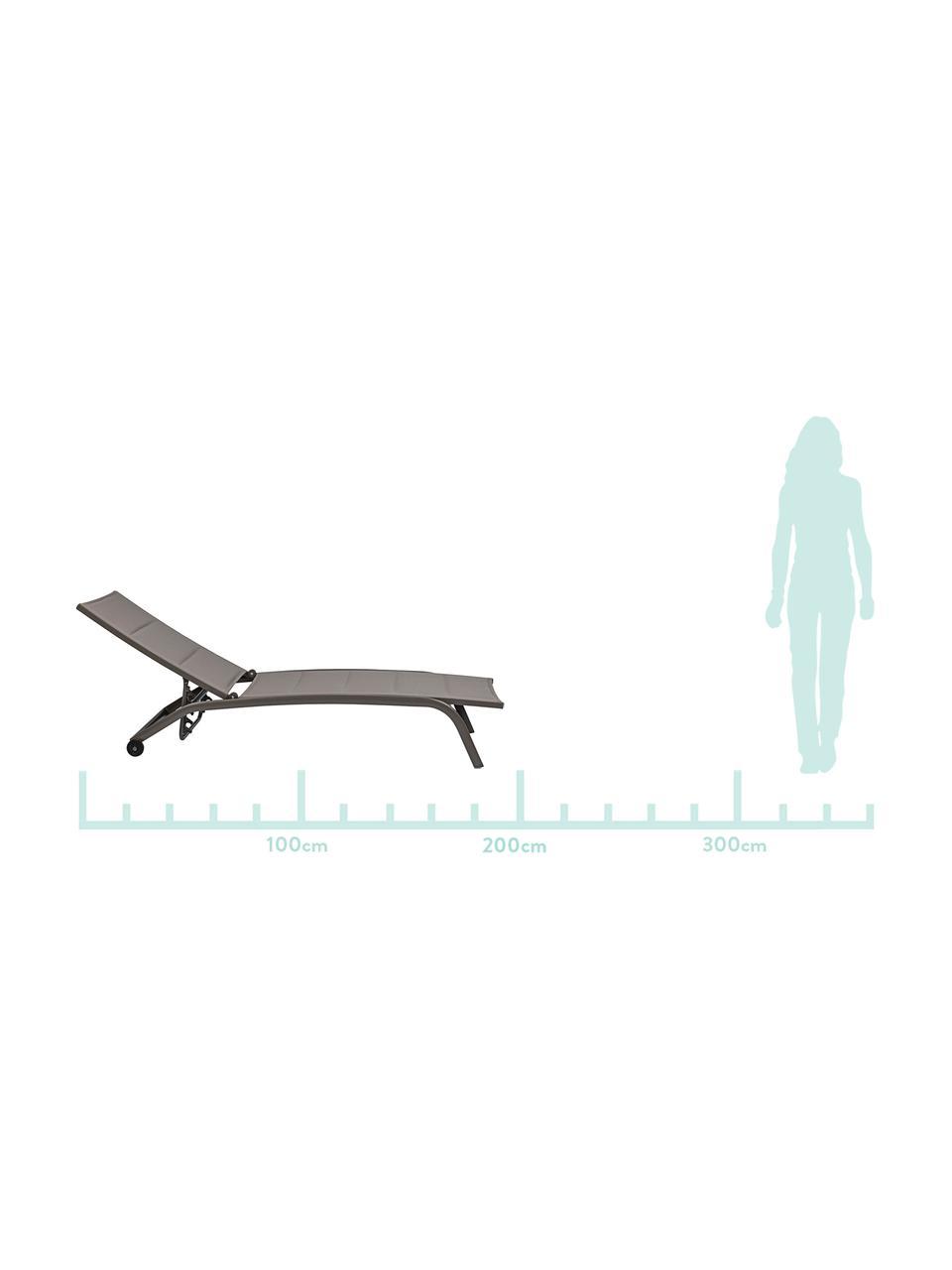 Gartenliege Cleo in Grau, Gestell: Aluminium, pulverbeschich, Rollen: Kunststoff, Taupe, Schwarz, 61 x 192 cm
