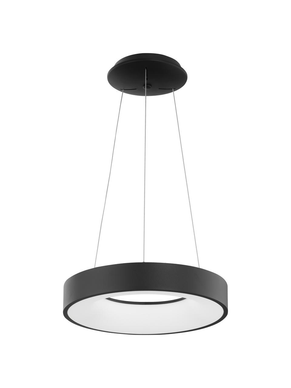 Dimmbare LED-Pendelleuchte Rando in Schwarz, Lampenschirm: Aluminium, beschichtet, Baldachin: Aluminium, beschichtet, Schwarz, Ø 60 x H 6 cm
