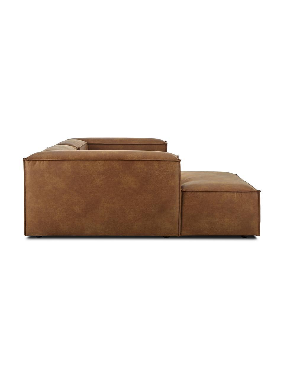 Narożna sofa modułowa ze skóry z recyklingu Lennon, Tapicerka: skóra z recyklingu (70% s, Nogi: tworzywo sztuczne Nogi zn, Skórzany brązowy, S 238 x G 180 cm