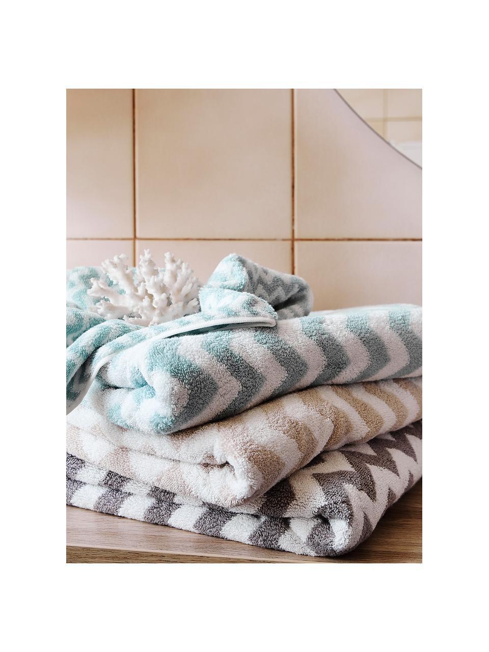 Lot de serviettes de bain imprimé zigzag Liv, 3élém., Gris, blanc crème