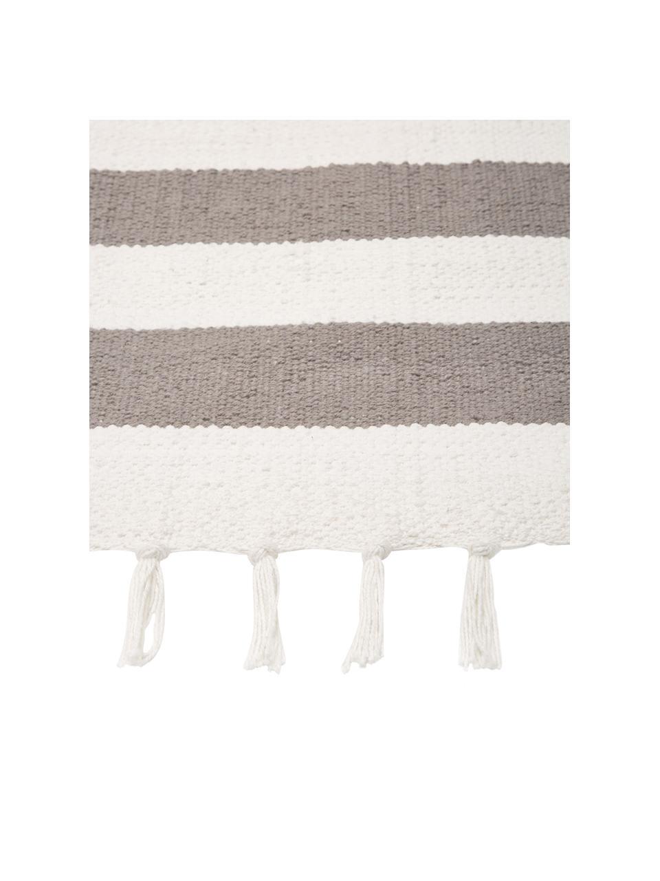 Gestreifter Baumwollteppich Blocker in Grau/Weiß, handgewebt, 100% Baumwolle, Cremeweiß/Hellgrau, B 160 x L 230 cm (Größe M)