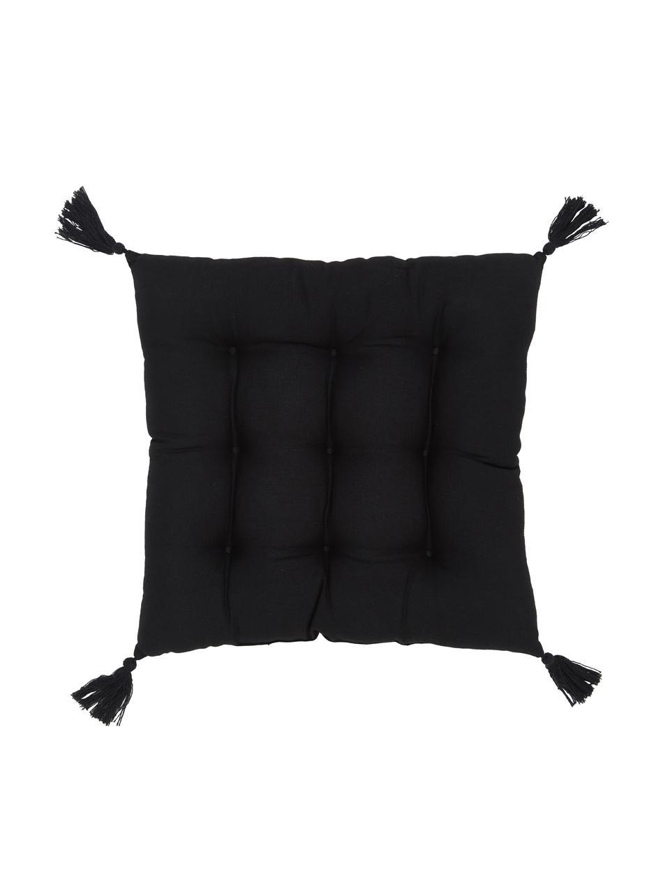 Sitzkissen Ava in Schwarz mit Quasten, Bezug: 100% Baumwolle, Schwarz, 40 x 40 cm