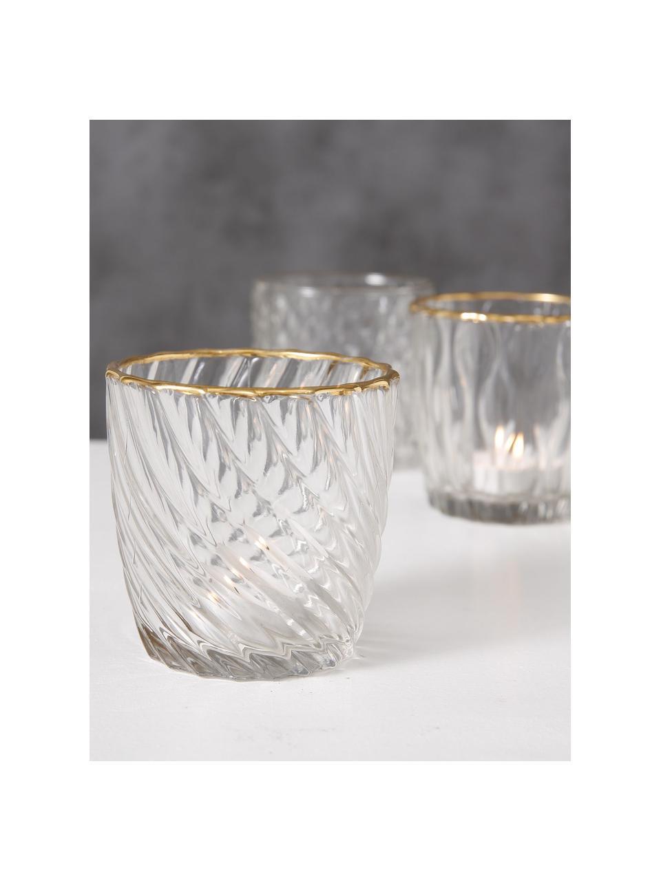 Świecznik na podgrzewacz Adore, 3 elem., Szkło lakierowane, Transparentny, odcienie złotego, Ø 9 x W 9 cm