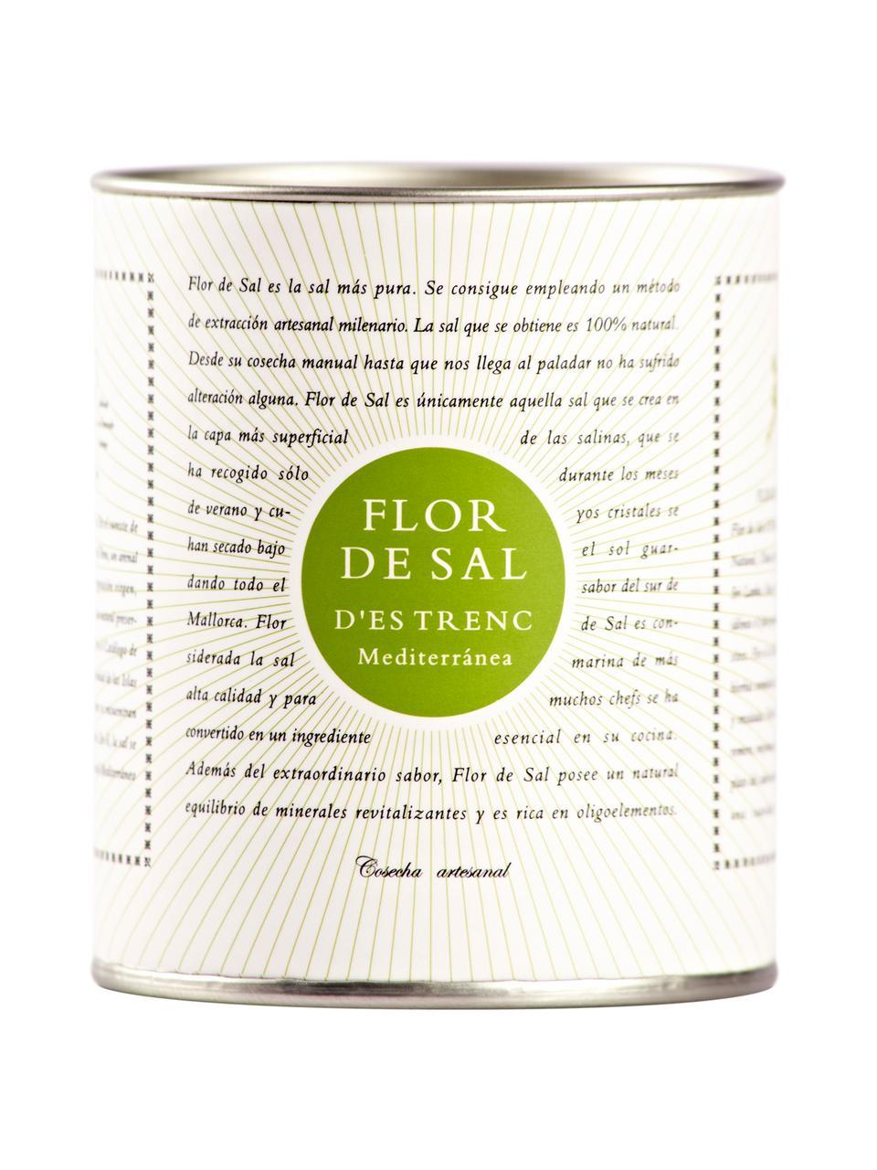 Gewürzsalz Flor de Sal d´Es Trenc (Mediterrane Kräuter), Dose: Pappmembran, Metall, Creme, Goldfarben, Grün, 150 g
