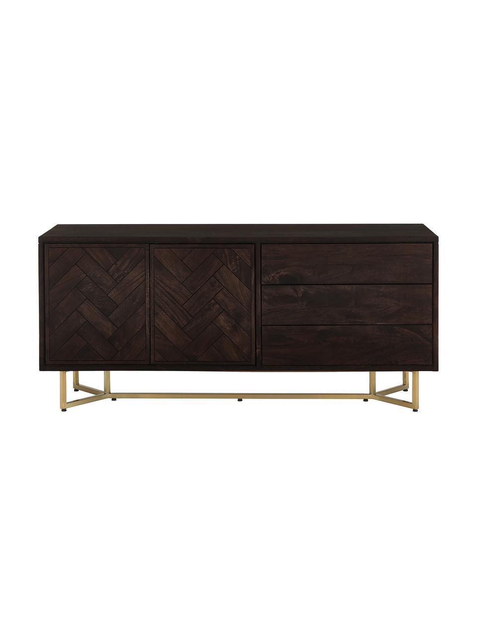 Visgraat dressoir Luca met deuren van massief hout, Frame: massief mangohout, Frame: gecoat metaal, Donkerbruin, 160 x 70 cm