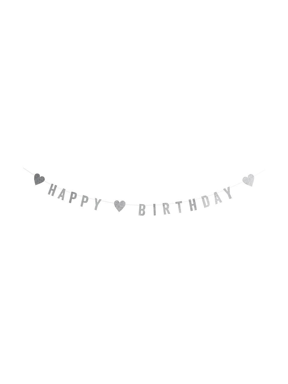 Glitzernde Girlande Birthday aus silberfarbenem Papier, Papier, Baumwolle, Edelstahl, L 100 cm