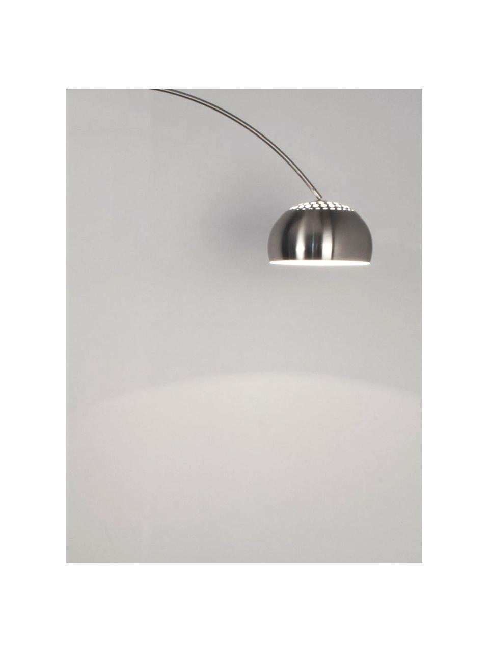 Lampada da terra ad arco argentata Metal Bow, Paralume: metallo spazzolato, Struttura: metallo spazzolato, Base della lampada: pietra con coperchio in m, Metallo, Larg. 170 x Alt. 205 cm
