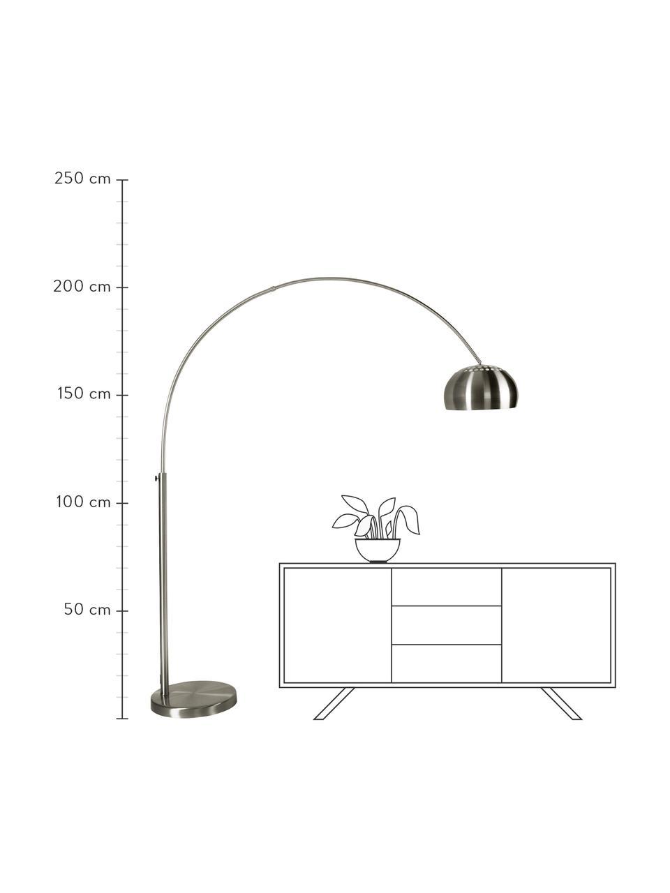Große Bogenlampe Metal Bow in Silber, Lampenschirm: Metall, gebürstet, Gestell: Metall, gebürstet, Lampenfuß: Stein mit versilberter Me, Metall, 170 x 205 cm