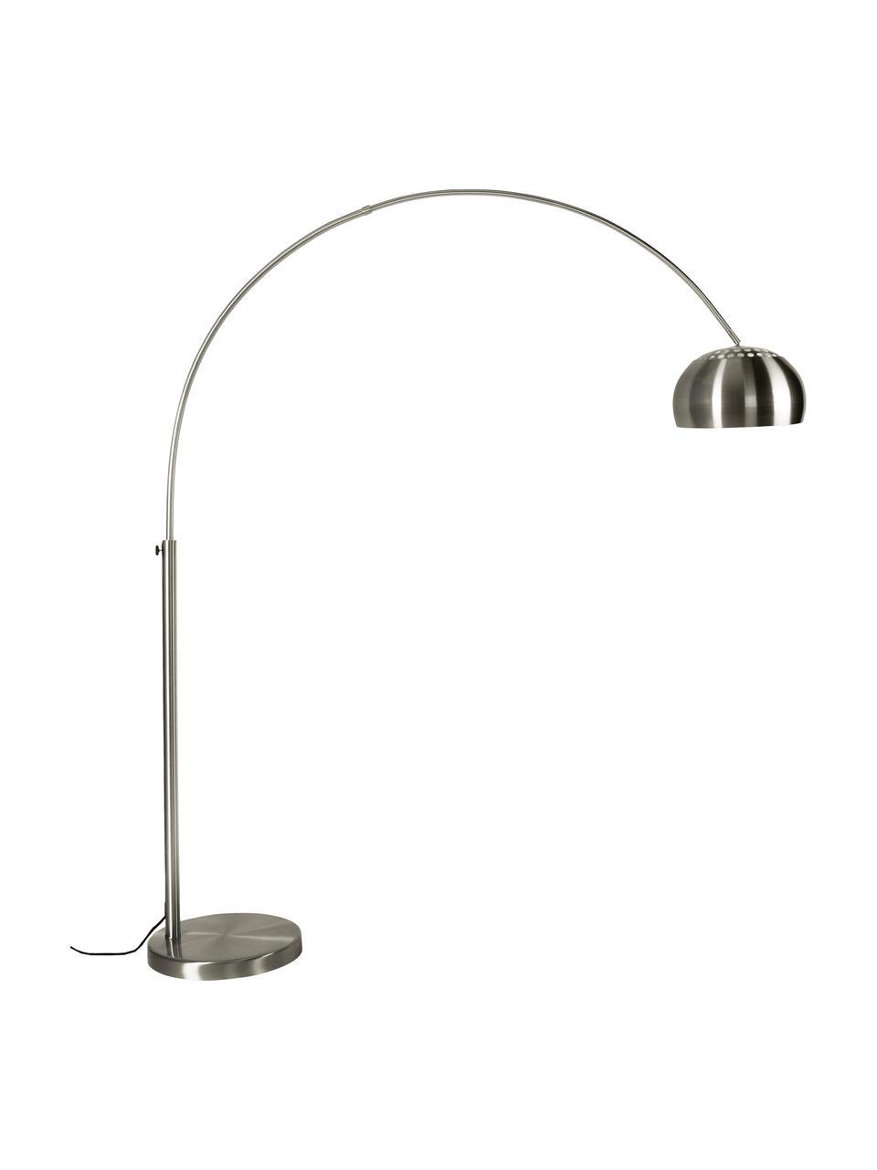 Lampa podłogowa w kształcie łuku z metalu Bow, Stelaż: metal szczotkowany, Metal, S 170 x W 205 cm