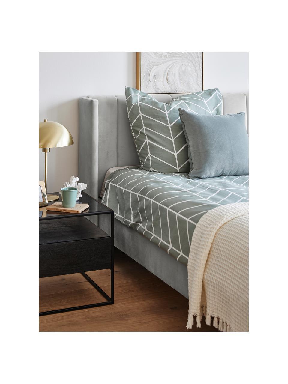 Sametová čalouněná postel s čelem Dusk, Světle šedá