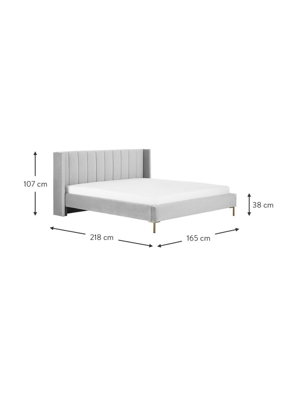 Sametová čalouněná postel Dusk, Světle šedá