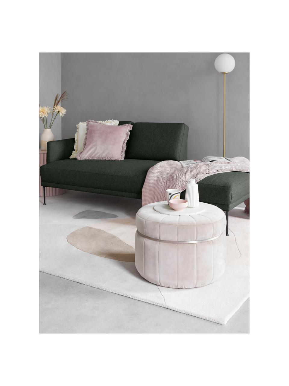 Chaise longue Fluente in donkergroen met metalen poten, Bekleding: 100% polyester, Frame: massief grenenhout, Poten: gepoedercoat metaal, Geweven stof donkergroen, B 202 x D 85 cm