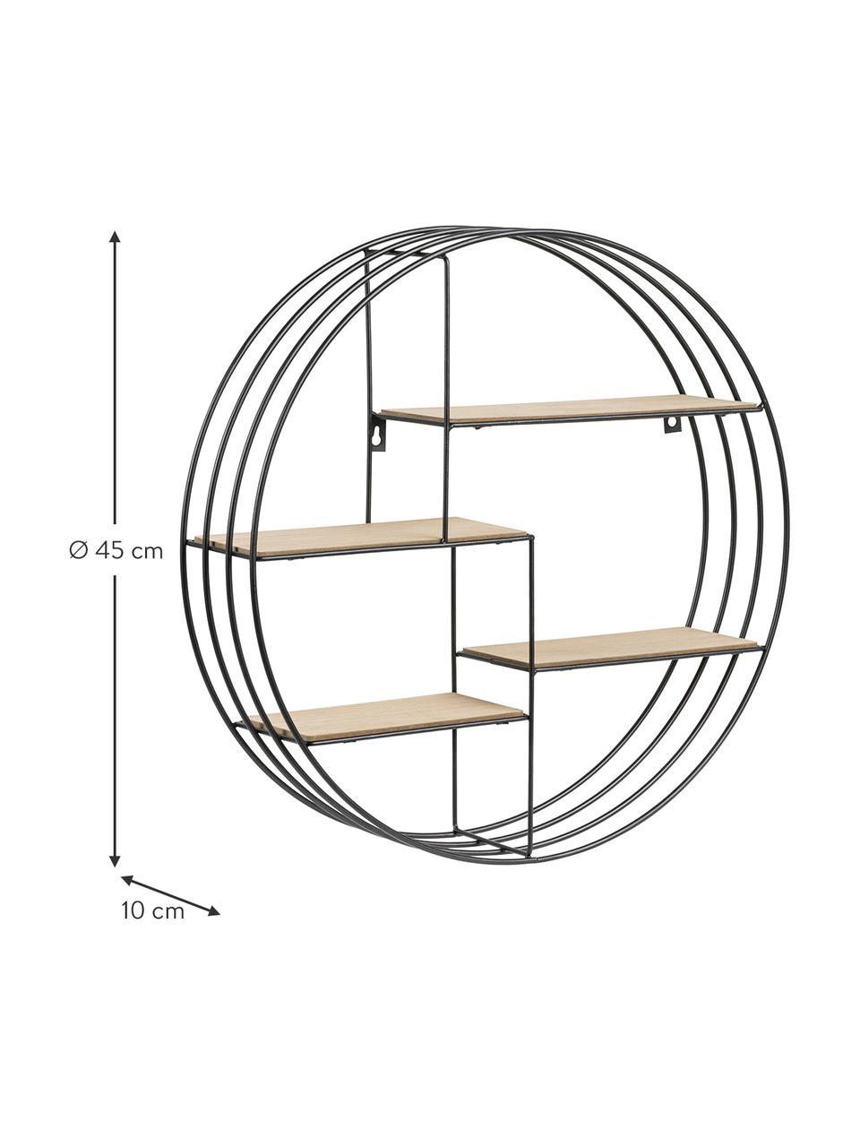 Rundes Wandregal Darkenberg, Gestell: Metall, Schwarz, Ø 45 cm