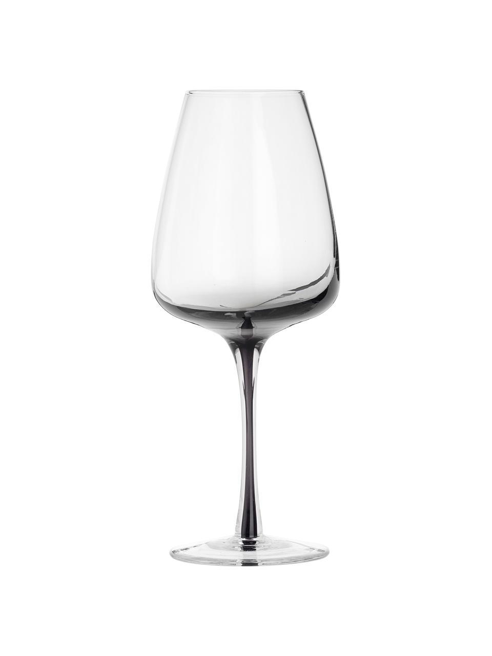 Bicchiere vino in vetro soffiato con sfumatura Smoke 4 pz, Vetro soffiato e pareti spesse, Grigio fumo, Ø 9 x Alt. 21 cm