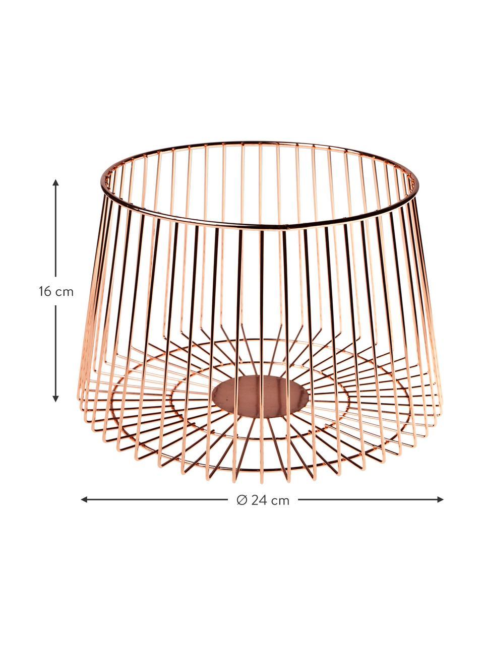 Aufbewahrungskorb Basket in Kupfer, Rostfreier Stahl, beschichtet, Kupferfarben, Ø 24 x H 16 cm