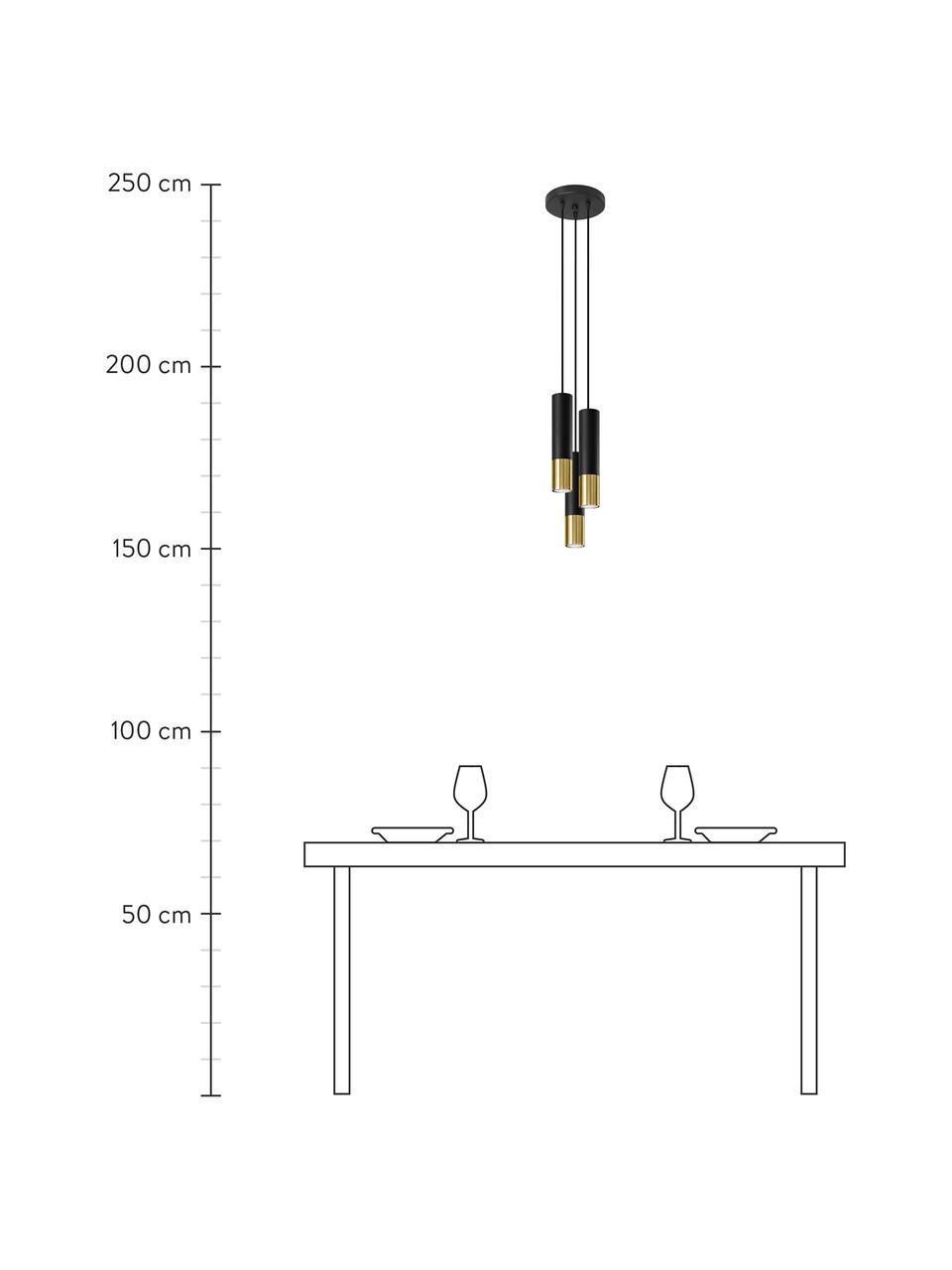 Lampa wisząca Longbot, Czarny, odcienie złotego, Ø 15 x W 30 cm