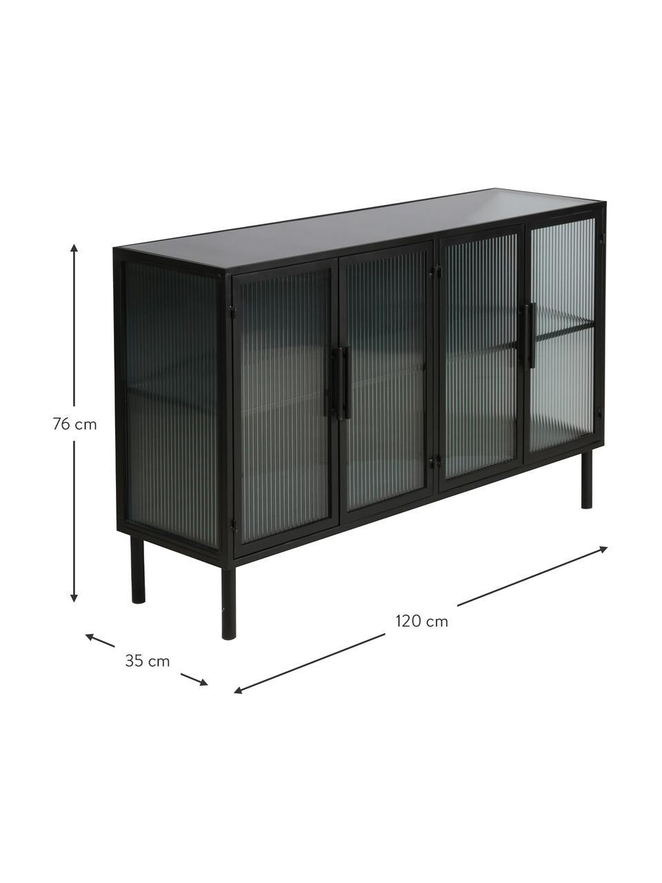 Credenza in metallo con vetro scanalato Markus, Struttura: metallo rivestito, Nero, trasparente, Larg. 120 x Alt. 76 cm