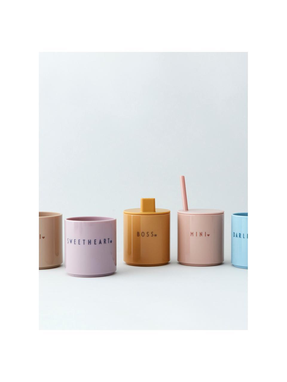 Kinderbecher Mini Favourite mit unterschiedlichen Schriftzug auf Vorder- & Rückseite, Tritan, BPA-, BPS- und EA-frei, Rosa, Ø 7 x H 8 cm