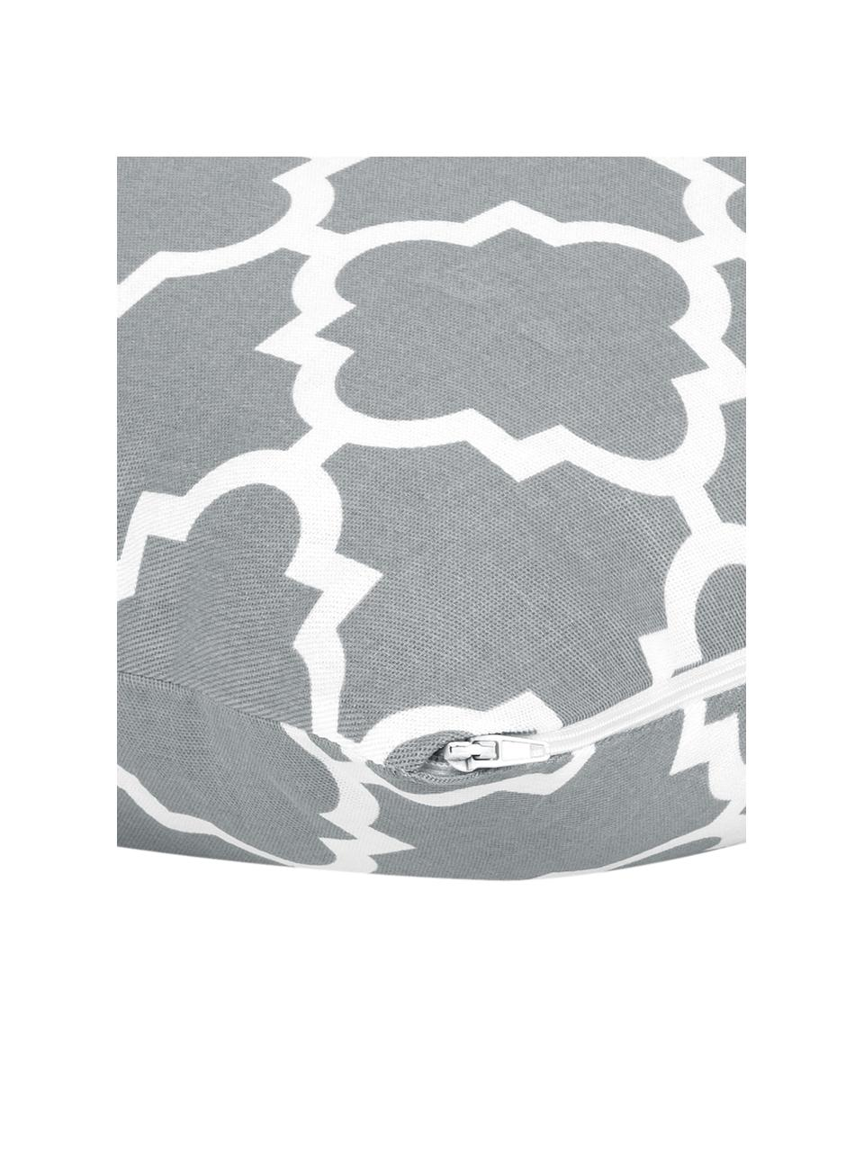 Federa arredo con motivo grafico Lana, 100% cotone, Grigio, bianco, Larg. 45 x Lung. 45 cm