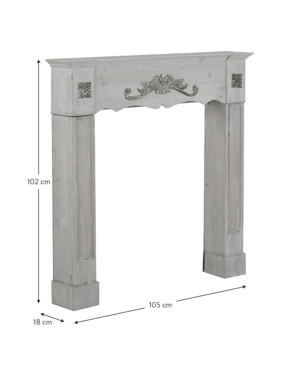 Portal kominkowy Menton, Płyta pilśniowa średniej gęstości, drewno paulownia, lakierowane, Szary, S 105 x G 18 cm