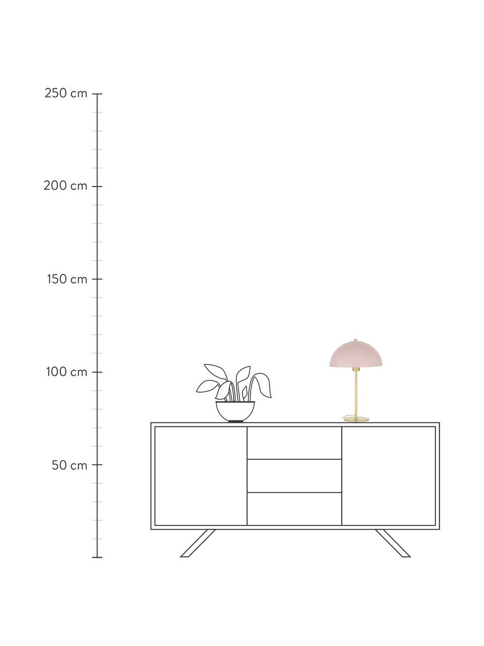 Tafellamp Matilda van metaal, Lampenkap: gepoedercoat metaal, Lampvoet: vermessingd metaal, Lichtroze, messingkleurig, Ø 29 x H 45 cm