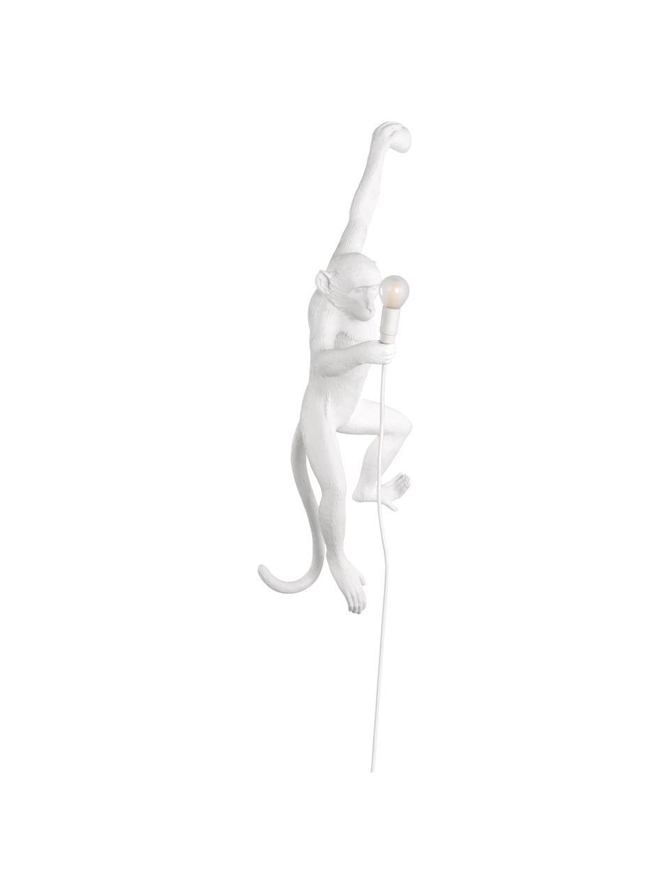 Aplique Monkey, con enchufe, Lámpara: resina, Fijación: resina, Cable: plástico, Blanco, An 77 x Al 37 cm