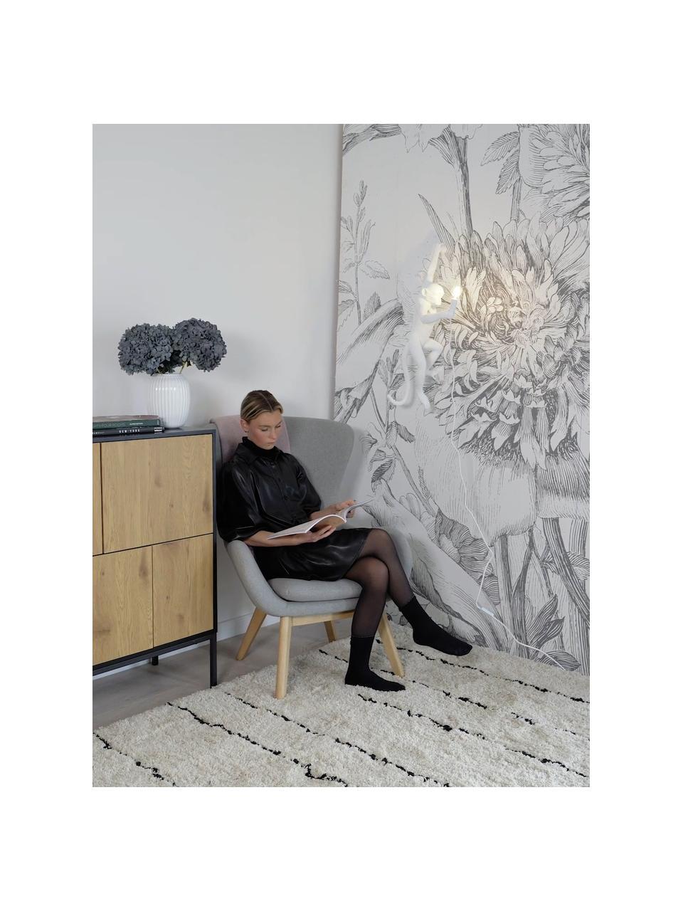Applique con spina Monkey, Lampada: resina sintetica, Bianco, Alt. 77 x Larg. 37 cm