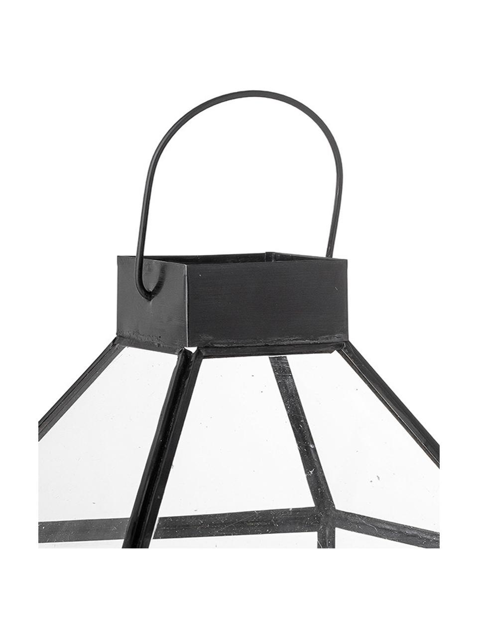 Lantaarn Khoa van metaal, Frame: gecoat metaal, Zwart, 15 x 28 cm
