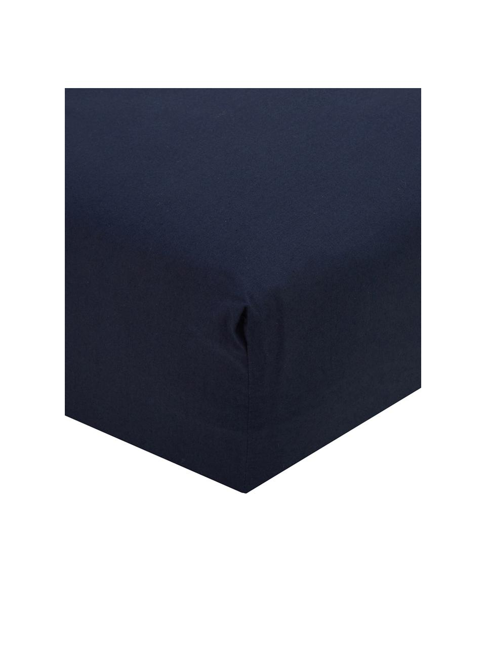 Lenzuolo con angoli in percalle blu scuro Elsie, Blu scuro, Larg. 180 x Lung. 200 cm