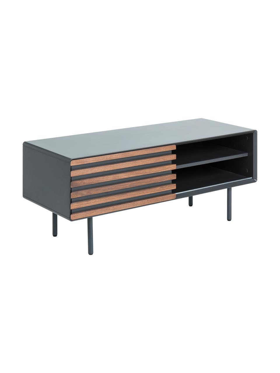 Tv-meubel Kesia met walnoothoutfineer, Grafietgrijs, walnootkleurig, 120 x 49 cm