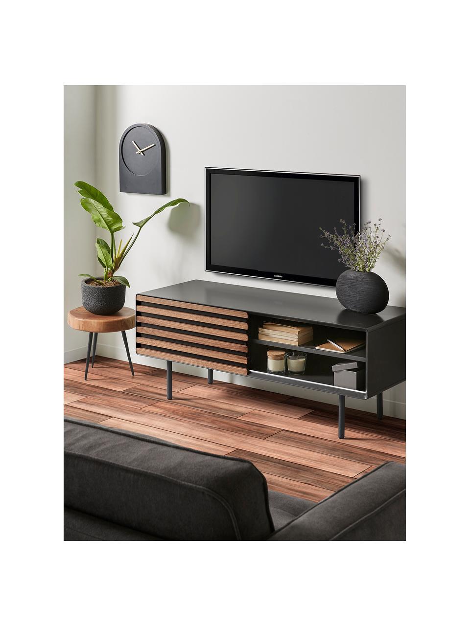 TV-Lowboard Kesia mit Walnussfurnier, Graphit, Walnussholz, 120 x 49 cm
