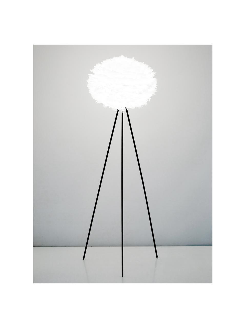 Lampada da terra in piume Eos, Paralume: Piume d'oca, acciaio, Base della lampada: Alluminio verniciato a po, Bianco, nero, Ø 66 x Alt. 133 cm