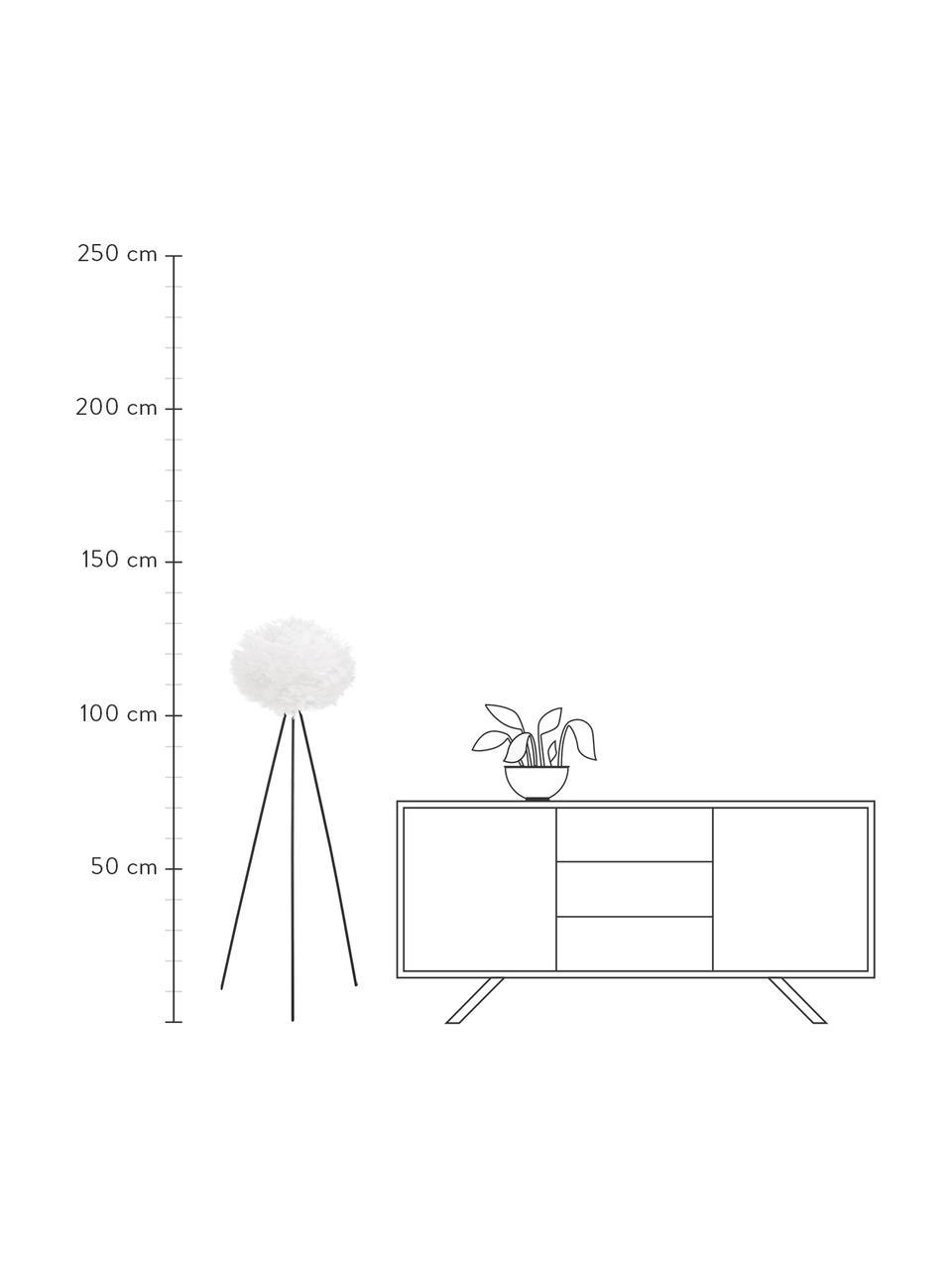 Tripod Stehlampe Eos aus Federn, Lampenschirm: Gänsefedern, Lampenfuß: Stahl, pulverbeschichtet, Weiß, Schwarz, Ø 58 x H 140 cm