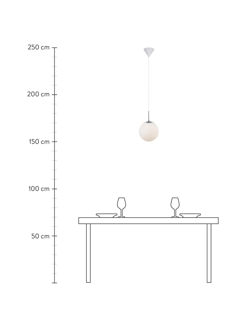 Kleine Pendelleuchte Cafe aus Opalglas, Lampenschirm: Opalglas, Dekor: Metall, Baldachin: Kunststoff, Weiß, Silberfarben, Ø 15 x H 29 cm