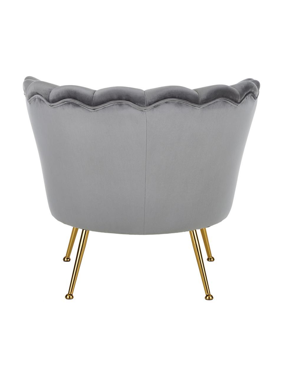 Poltrona in velluto grigio Oyster, Rivestimento: velluto (poliestere) Con , Struttura: legno di pioppo massiccio, Velluto grigio, Larg. 81 x Prof. 78 cm