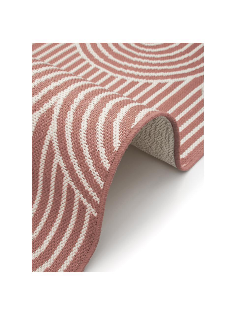 In- & outdoor vloerkleed Arches in koraalrood/wit, 86% polypropyleen, 14% polyester, Rood, wit, B 200 x L 290 cm (maat L)