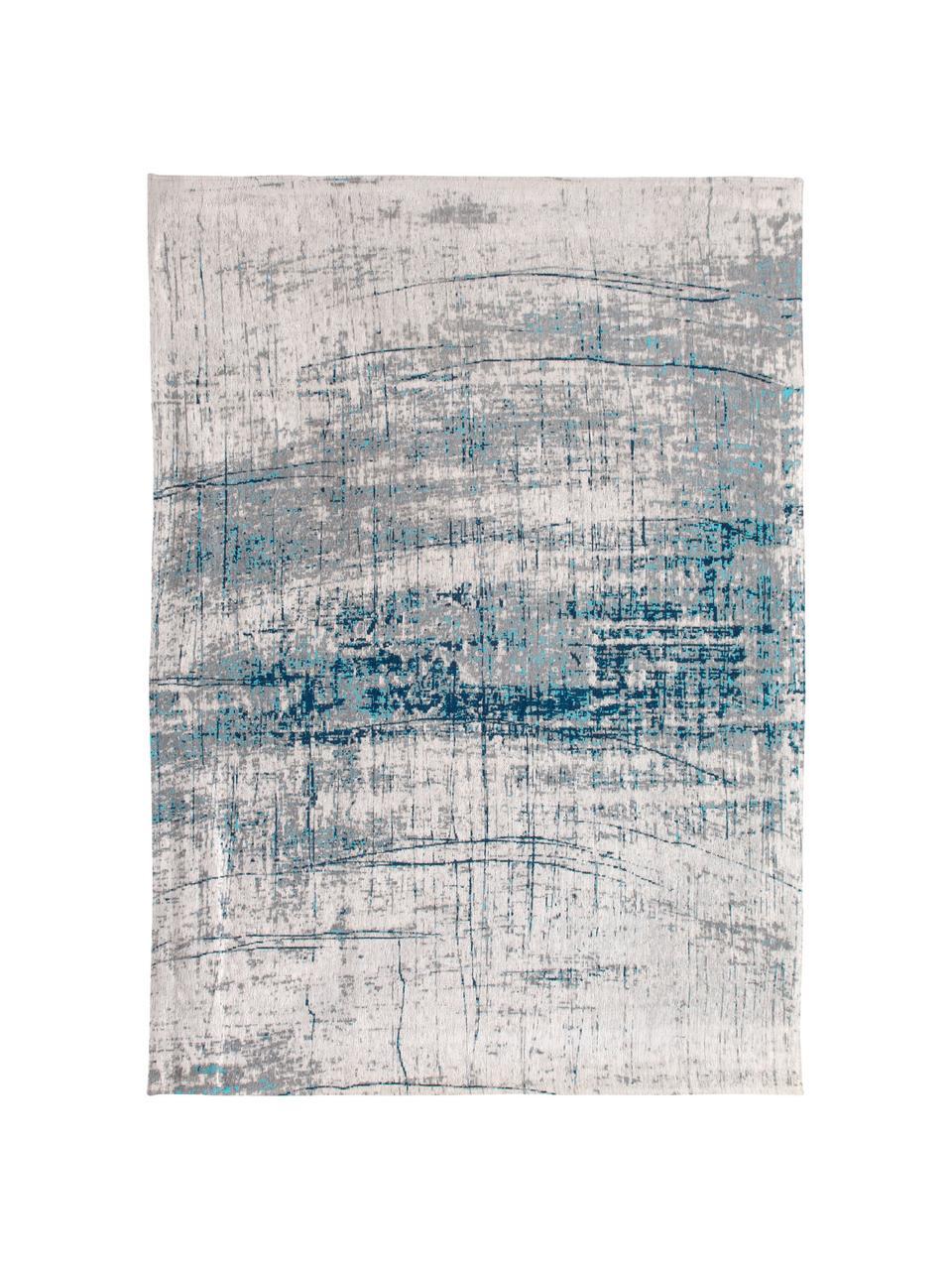 Tappeto vintage di design Griff, Retro: misto cotone rivestito in, Blu, grigio, Larg. 80 x Lung. 150 cm (taglia XS)