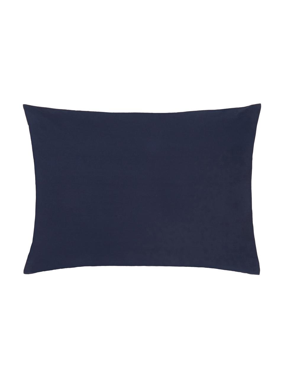 Taie d'oreiller 50x70 percale Elsie, 2pièces, Bleu foncé