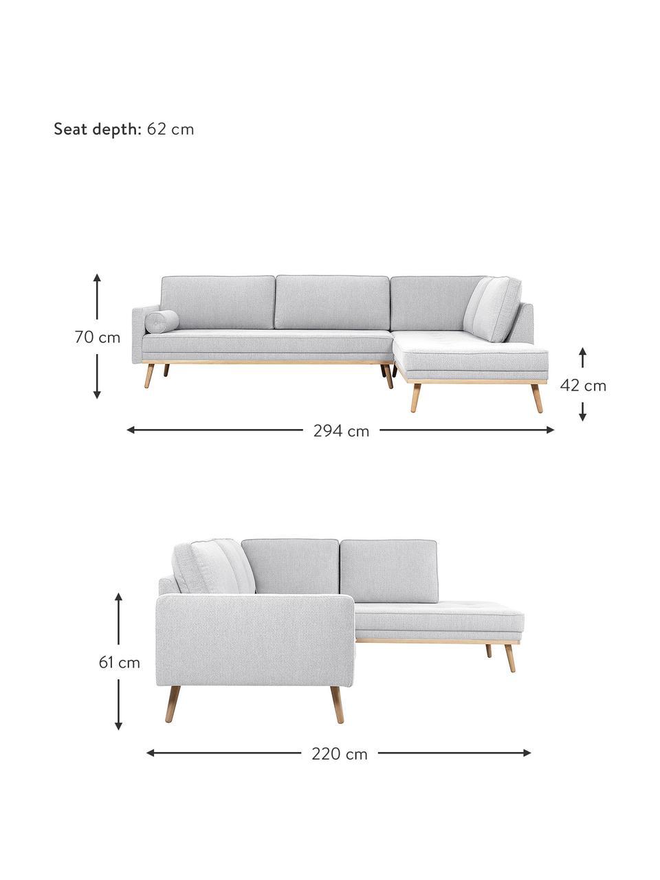 Sofa narożna  z nogami z drewna dębowego Saint (4-osobowa), Tapicerka: poliester Dzięki tkaninie, Jasny szary, S 294 x G 220 cm