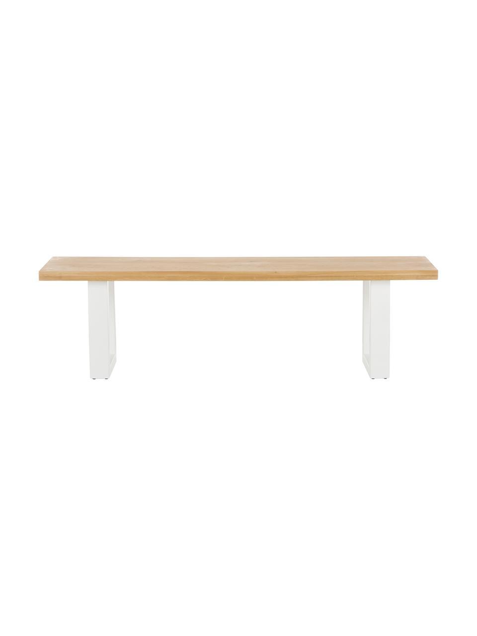 Sitzbank Oliver aus Eichenholz, Sitzfläche: Wildeichenlamellen, massi, Beine: Metall, pulverbeschichtet, Wildeiche, Weiß, 160 x 45 cm