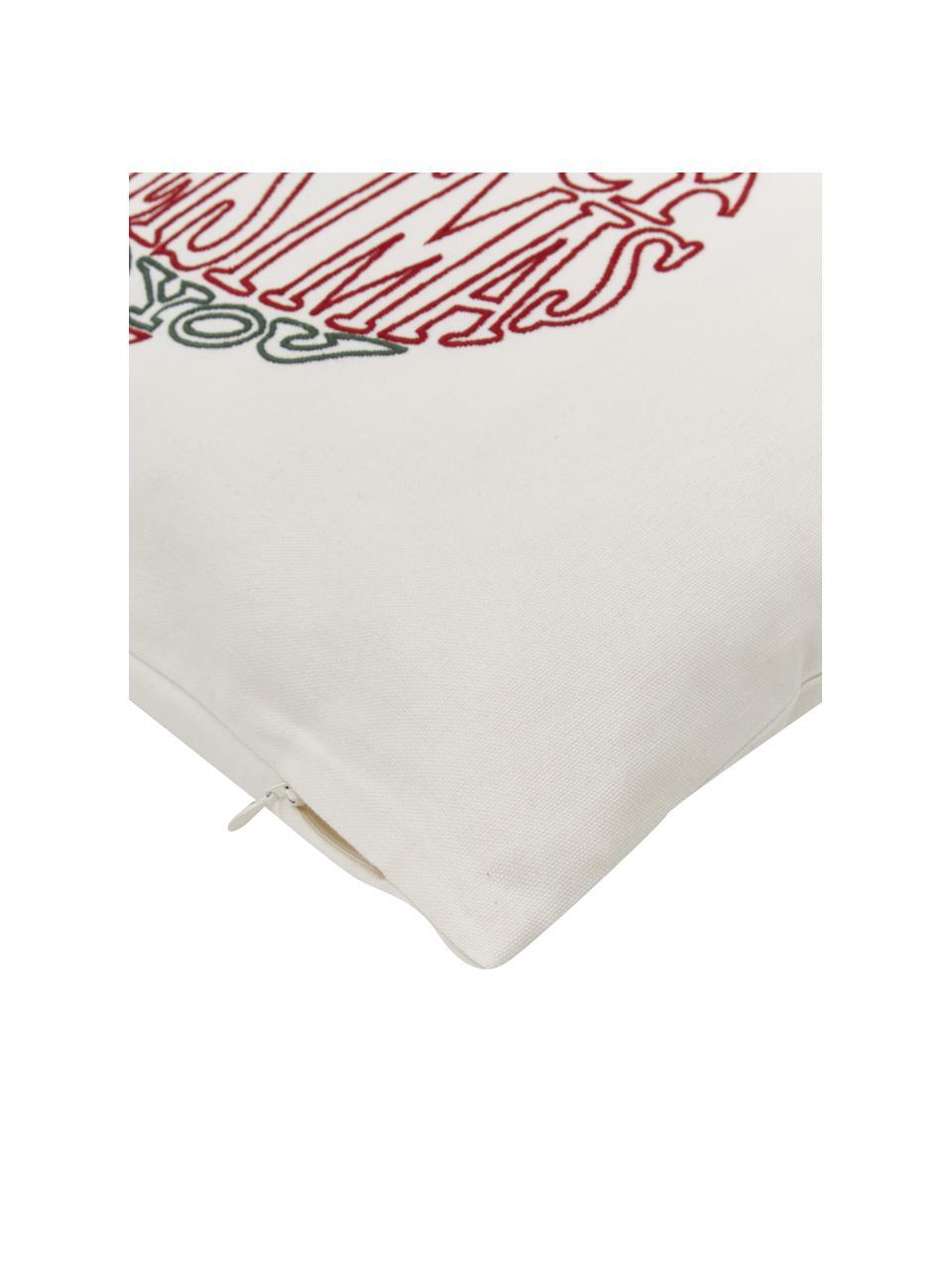 Geborduurde kussenhoes Finn met winters motief, 100% katoen, Multicolour, 45 x 45 cm