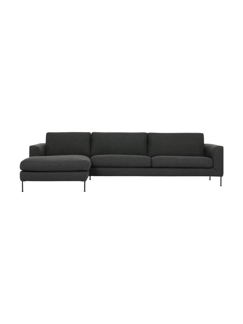 Sofa narożna z metalowymi nogami Cucita (4-osobowa), Tapicerka: tkanina (poliester) Dzięk, Nogi: metal lakierowany, Antracytowy, S 302 x G 163 cm
