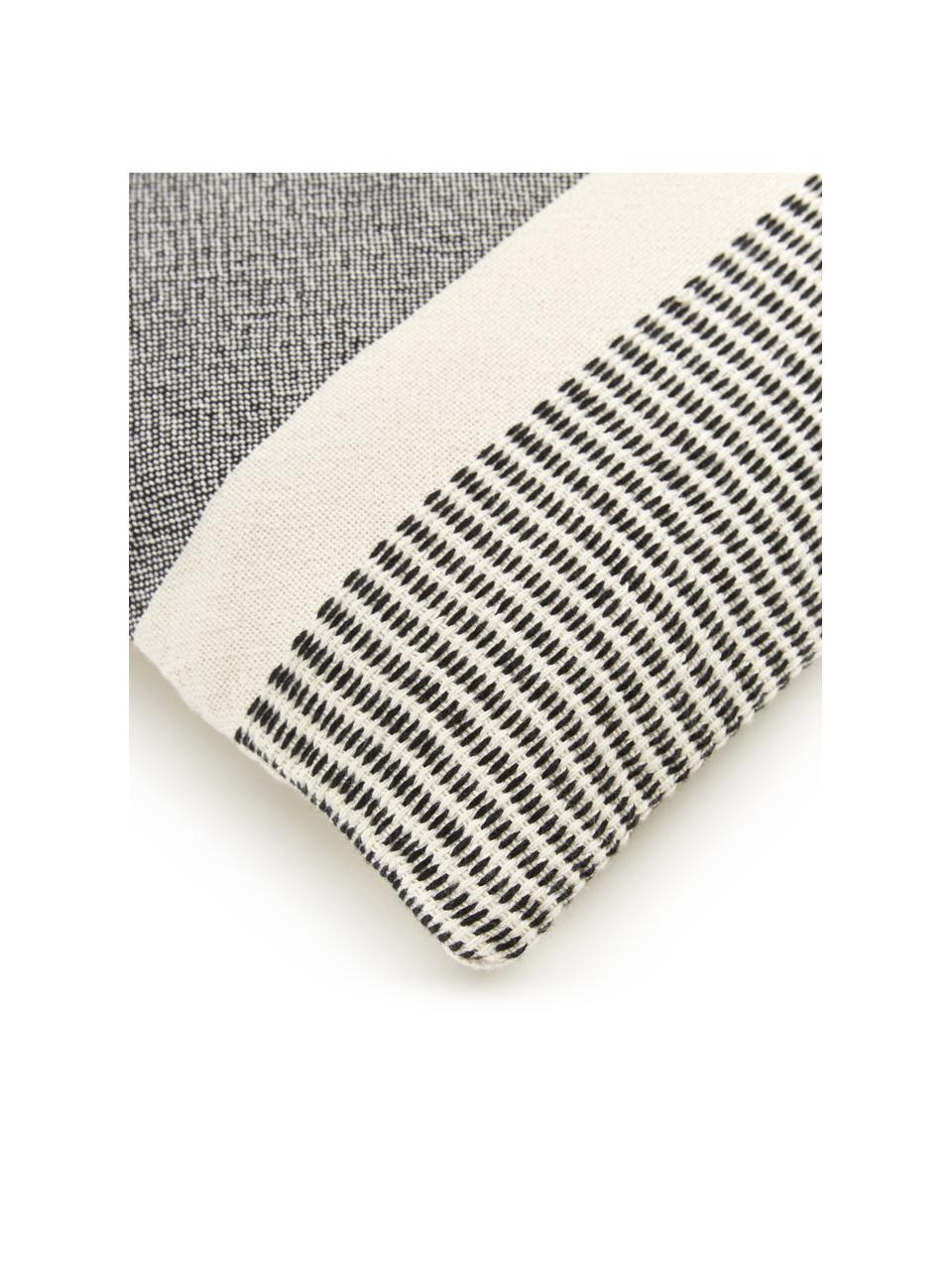 Gestreifte Kissenhülle Lines aus recyceltem Polyester, 100% Recyceltes Polyester, Schwarz, Weiß, 45 x 45 cm