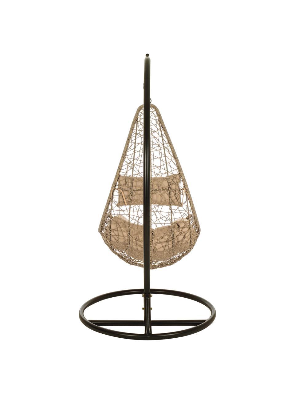 Hangstoel Amirantes met metalen frame, Frame: gepoedercoat aluminium, Zitvlak: kunstvlechtwerk, Beige, 74 x 127 cm