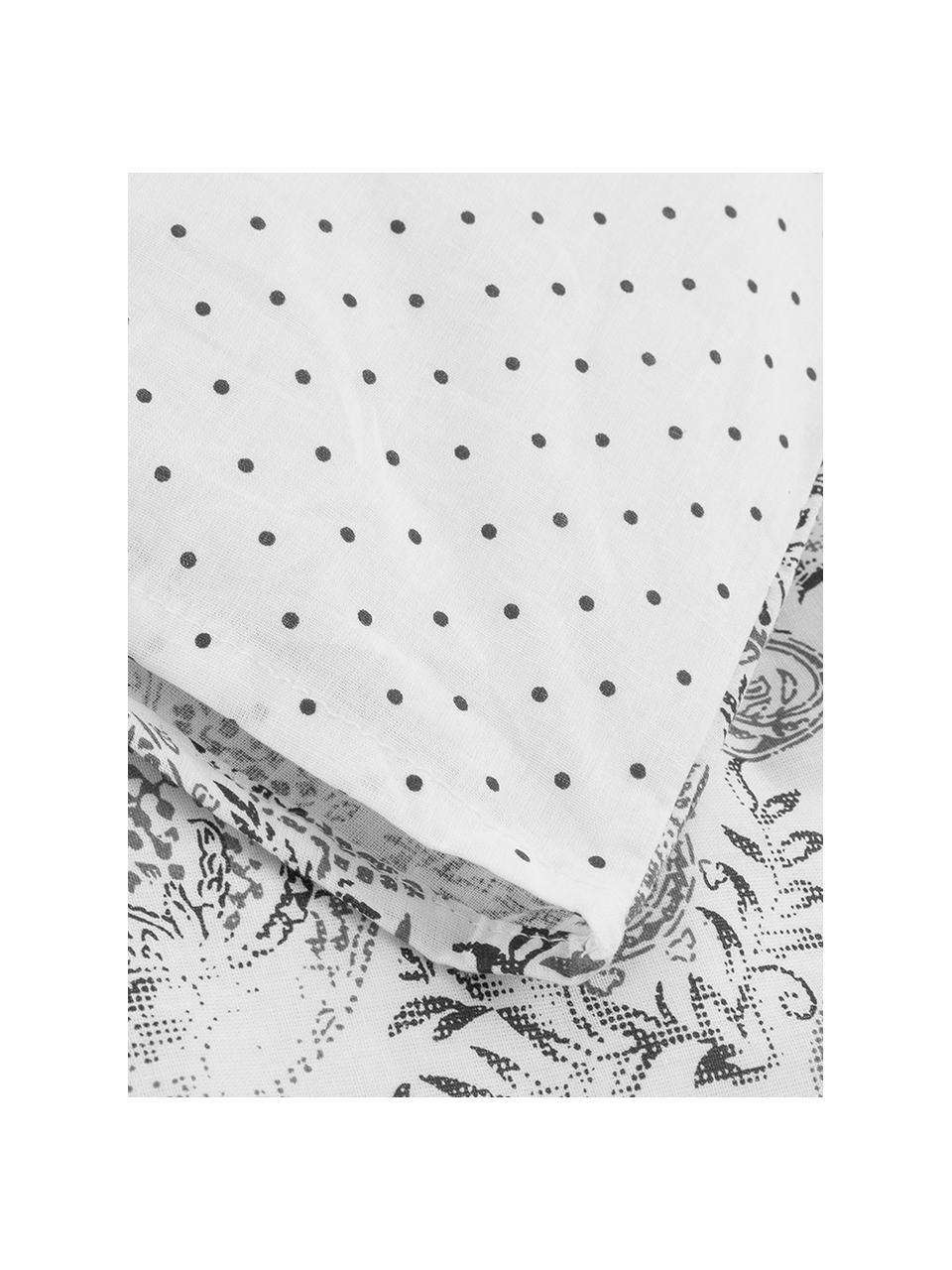 Parure copripiumino in cotone ranforce Yumi, Tessuto: Renforcé, Grigio, bianco, 250 x 200 cm + 2 federe 50 x 80 cm