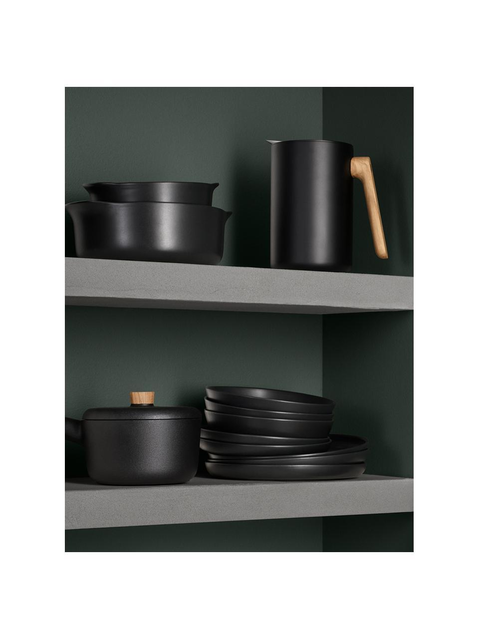 Speiseteller Nordic Kitchen in Schwarz matt, 4 Stück, Steingut, Schwarz, matt, Ø 25 cm