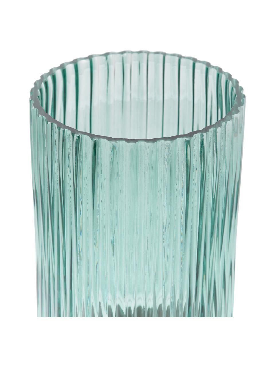 Vaso in vetro con base in metallo Lene, Vaso: vetro, Vaso: verde trasparente Base: dorato opaco, Ø 12 x Alt. 20 cm